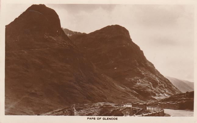 RPPC The Paps of Glencoe, Highlands of Scotland - pm 1937 at Peebles - Real Photo