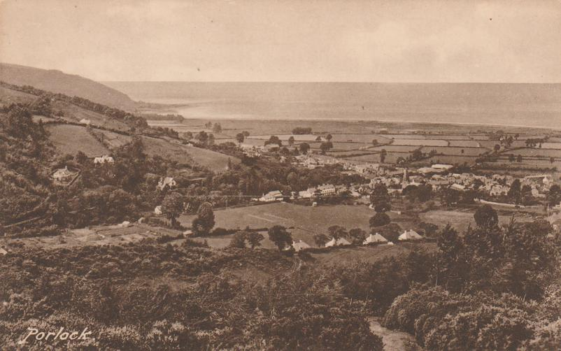 Aerial View of Porlock - Somerset, England, United Kingdom - Divided Back