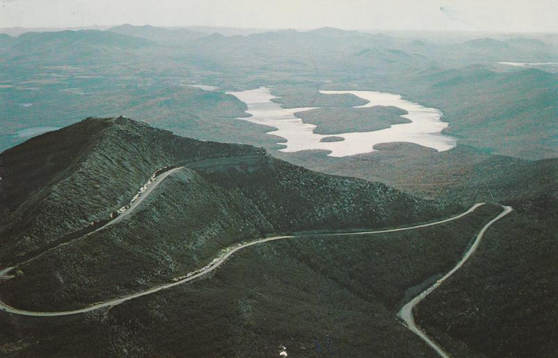 Highway and Lake Placid - Whiteface Mountain - Adirondack Mountains, New York - pm 1958