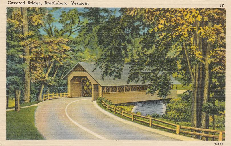 Brattleboro, Vermont - Covered Bridge - Linen Card