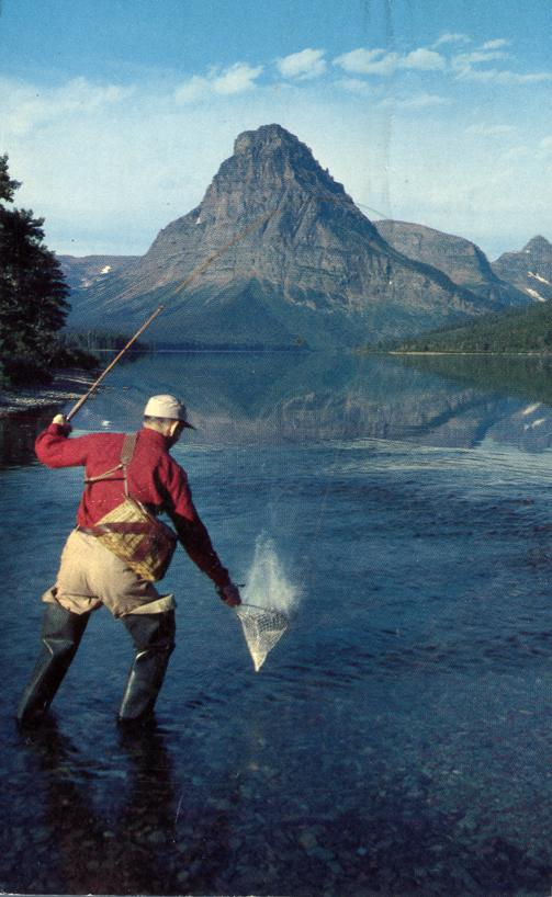 Rainbow Trout Fishing - Two Medicine Lake, Montana - pm 1972 at East Glacier Park