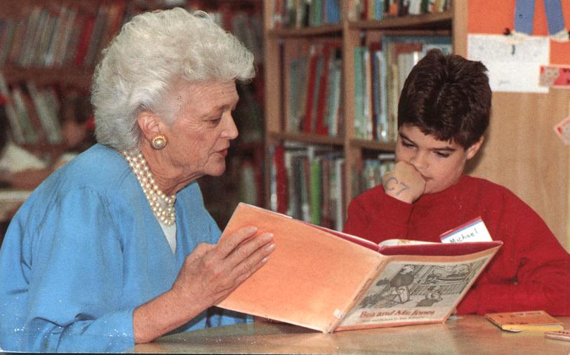 First Lady Barbara Bush promoting Reading - pm 1990 at Des Moines Iowa