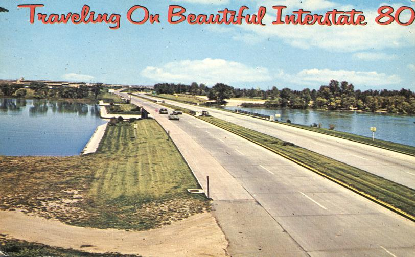 Traveling on Beautiful Highway Interstate I80 - pm 1972 at Minden Iowa