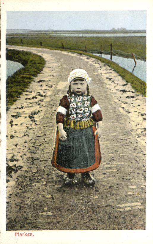 Dutch Child in Fancy Dress - Marken, Netherlands - White Border