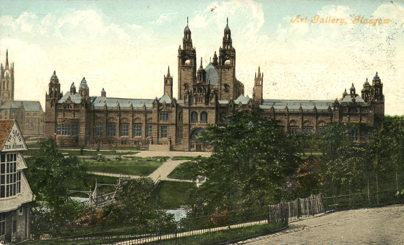 Art Gallery, Glasgow, Scotland - The Cabin Tea Rooms onleft - Divided Back