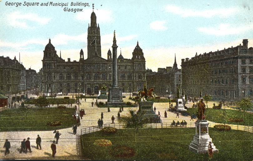 George Square and Municipal Buildings - Glasgow, Scotland, UK - Divided Back