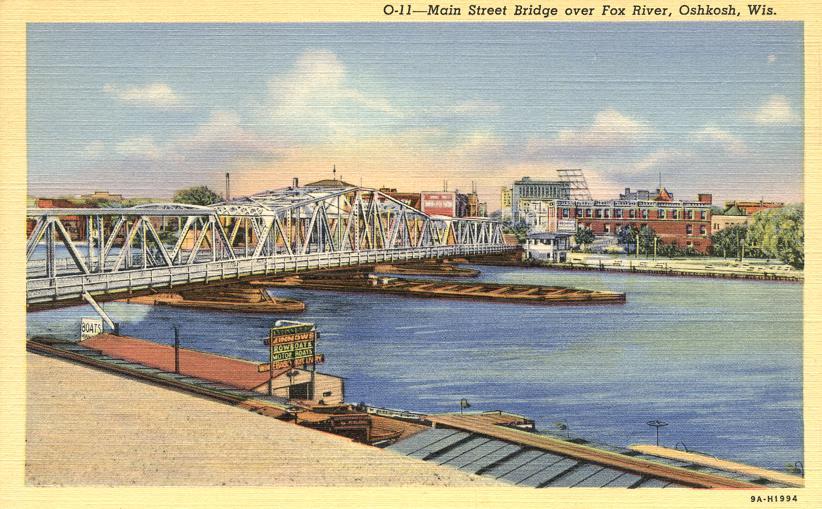 Main Street Bridge over Fox River - Oshkosh, Wisconsin - Linen Card