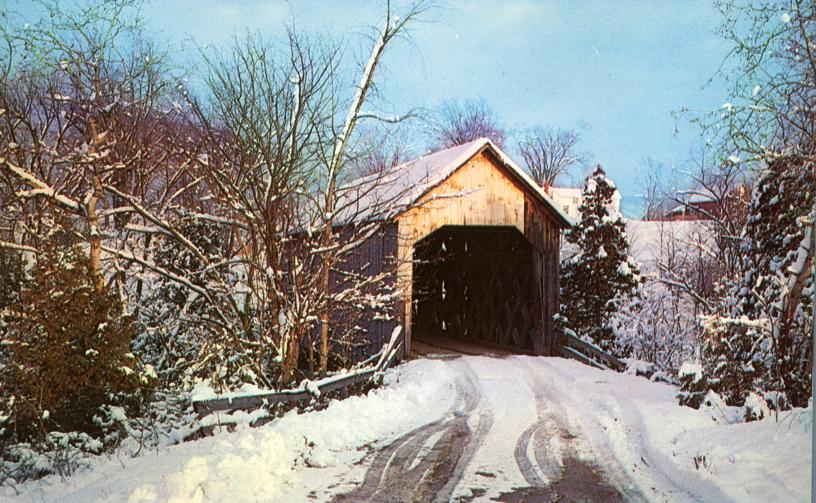 Winter View at Halpin Covered Bridge - Middlebury, Vermont