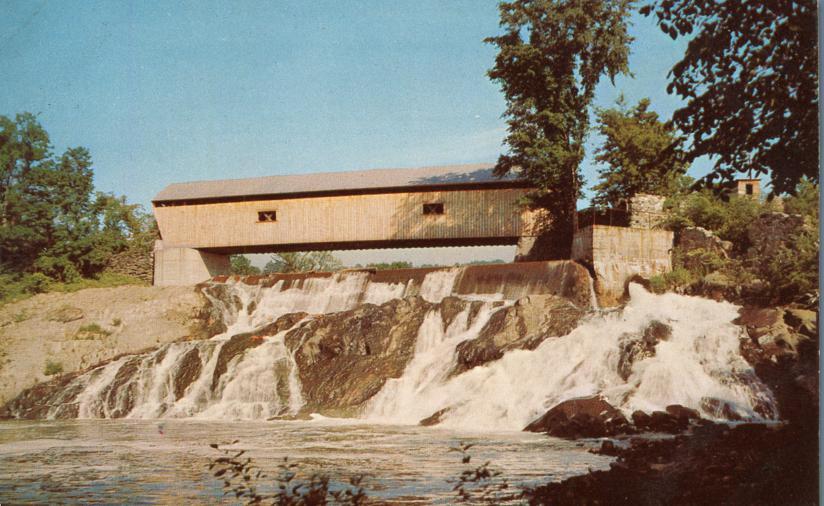 Covered Bridge over Waterfall - North Hartland, Vermont