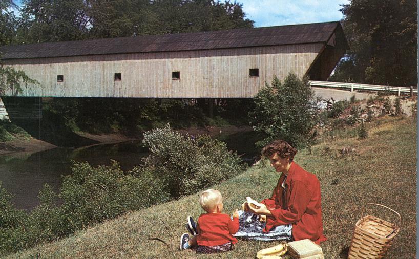 Picnic at Hammond Covered Bridge - Pittsford, Vermont