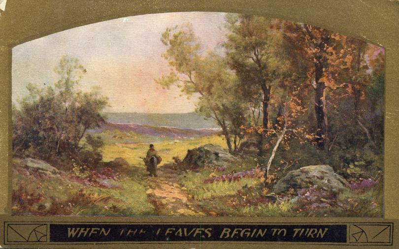 When the Leaves begin to Turn - Autumn Art Scene - pm 1910 at Bethel Maine - Divided Back