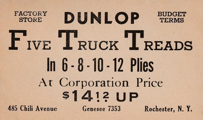 Dunlop Truck Tires Advertisement - Rochester, New York - pm 1941