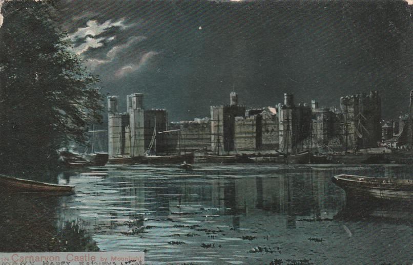 Caernarfon - Carnarvon Castle by Moonlight - Wales, United Kingdom - pm 1905 - Undivided Back