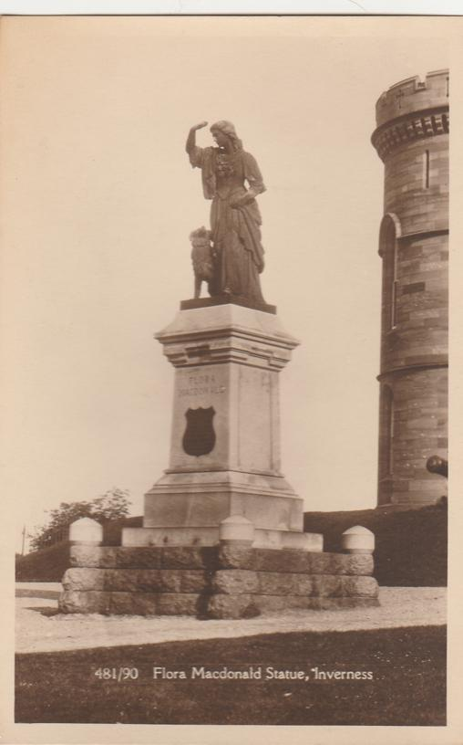 RPPC Flora Macdonald Statue - Inverness, Scotland, United Kingdom - Real Photo