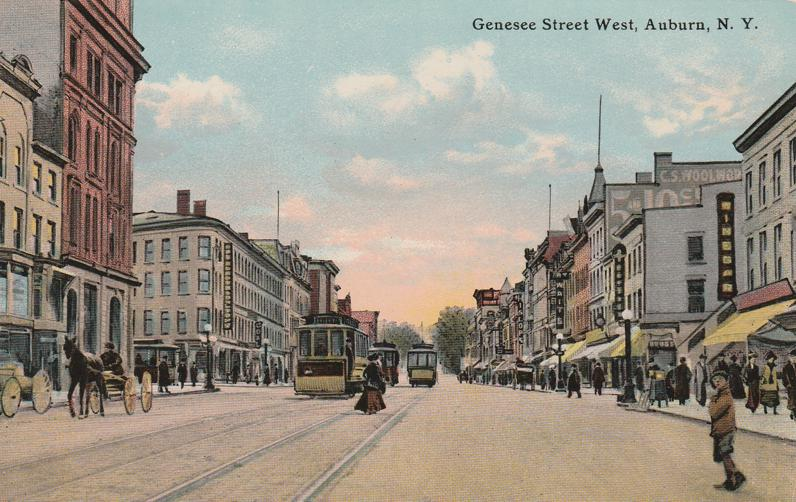 Genesee Street West, Auburn, New York - Trolley, Horse and Buggy - Divided Back