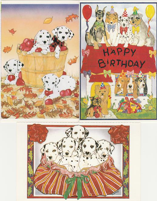 (3 cards) Dalmation Party Dogs - North Shore Animal League