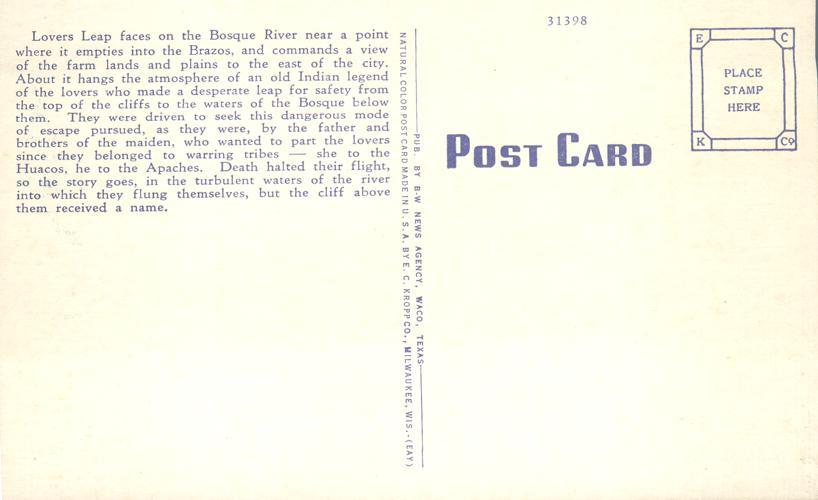 Lovers Leap on the Bosque River - Waco, Texas - Linen Card