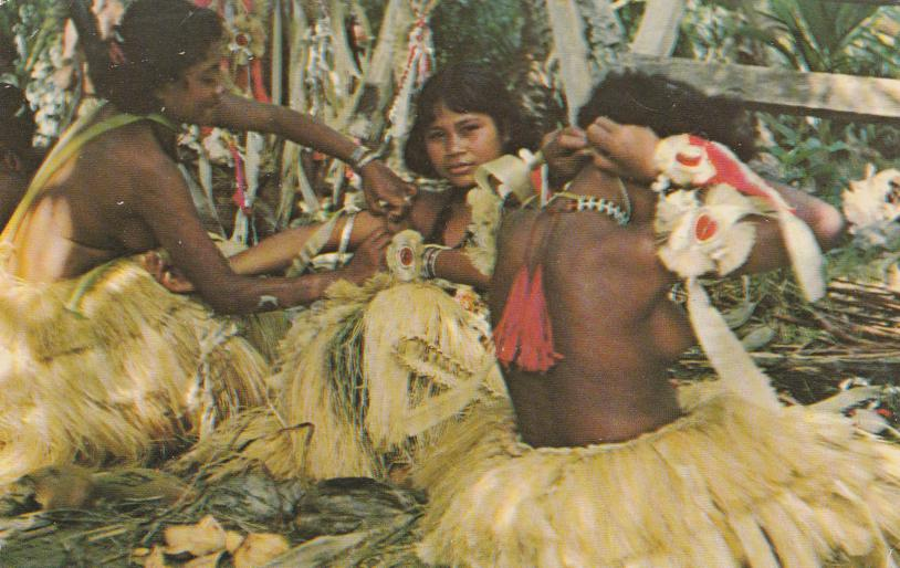 Yap Topless Dancers in Grass Skirts - Micronesia, Pacific Islands