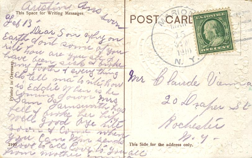 St Patricks Day Greetings - Ross Castle Killarney, Ireland - pm 1910 at Marion NY - Divided Back