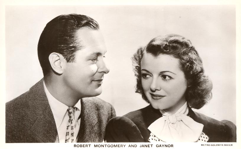 RPPC Metro Goldwyn Mayer Movie Stars - Robert Montgomery and Janet Gaynor - Real Photo