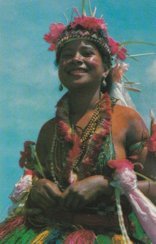 Pretty Yapese Dancer - A Traditional Yapese Dance - Yap, Western Caroline Islands, Micronesia
