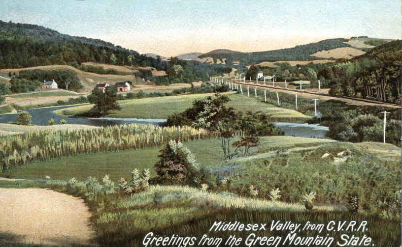 Middlesex Valley CVRR - Central Vermont Railroad - Greetings from Green Mountain State - Undivided Back