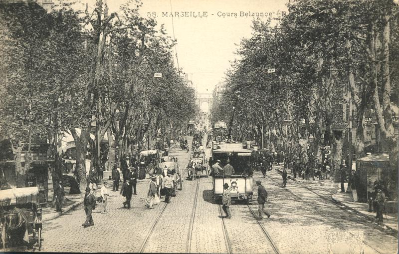 Trolley, Horse & Buggy - Marseille, France - Divided Back