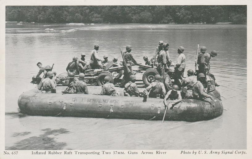 Inflated Rubber Raft with Troops and Two 37 mm Guns - WWII Military
