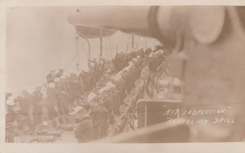 RPPC Kit Inspection - Battalion Drill - Ship Military WWI - Real Photo