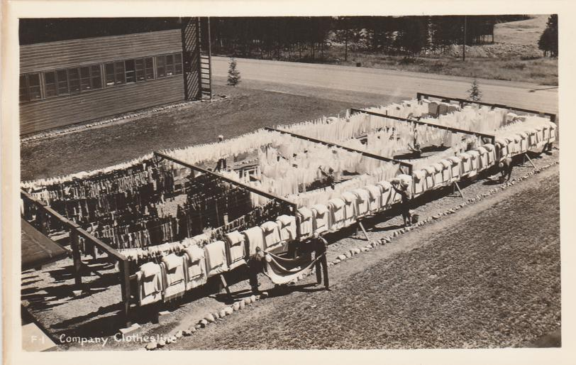 RPPC Company Clothesline - Military WWII - Real Photo
