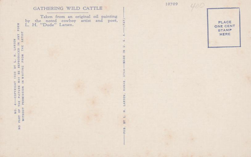 Gathering Wild Cattle - Western Artist L. H. Larsen - Linen Card