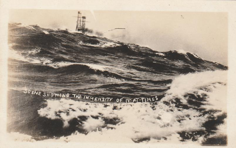 RPPC Immensity of Rough Seas at Times from Ship Military WWI - Real Photo