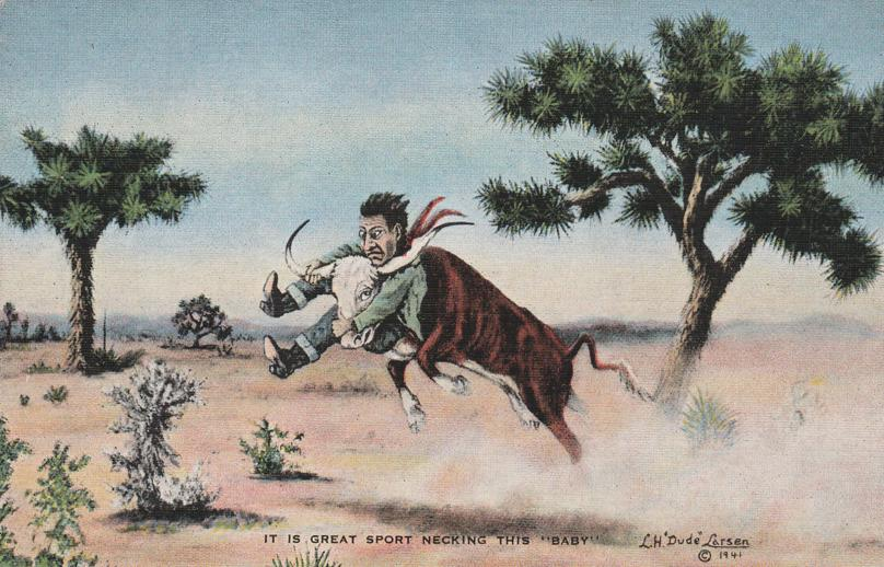 Great Sport Necking Steer - Western Artist L. H. Larsen - Linen Card