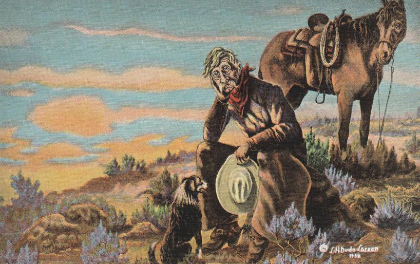 That New Range Ahead - Western Artist L. H. Larsen - Linen Card