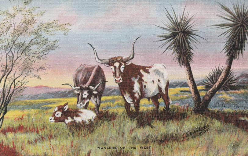 Pioneers of the West - Western Artist L. H. Larsen - Linen Card