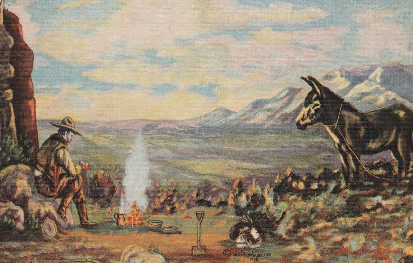 Precious Gold Prospector - Western Artist L. H. Larsen - Linen Card