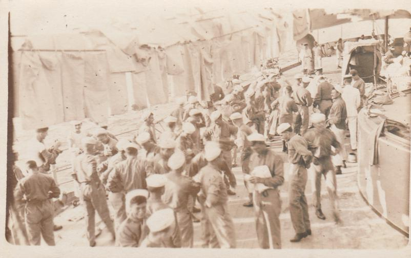 RPPC Sailors - Laundry Area on Ship - Military WWI - Real Photo