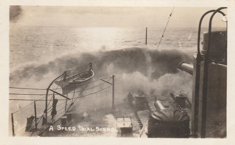 RPPC Bow of Battleship in Speed Trial - Military WWI - Real Photo