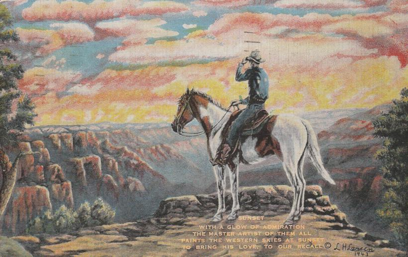 Western Sunset - Cowboy on Horse - Artist L. H.