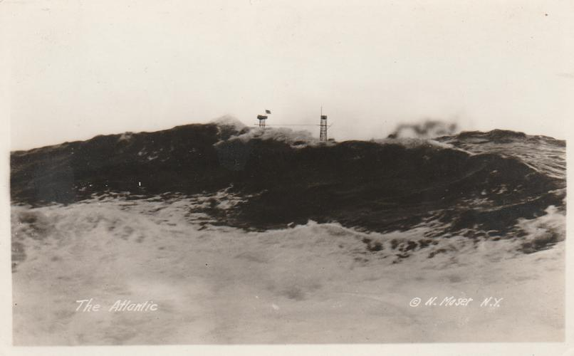 RPPC Rough Seas - Atlantic Ocean - Military WWII - N. Moser Photo - Real Photo
