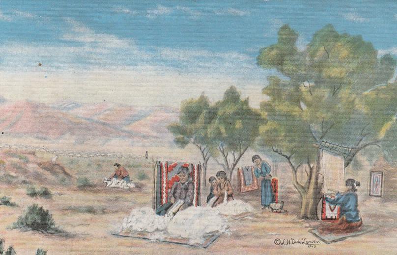 Navajo Indian Rug Weaving - Western Artist L. H. Larsen - Linen Card