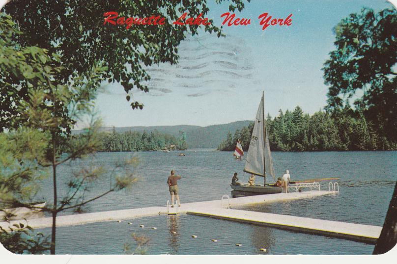 Sailboats on Raquette Lake - Adirondack Mountains, New York - pm 1959 at Eagle Bay