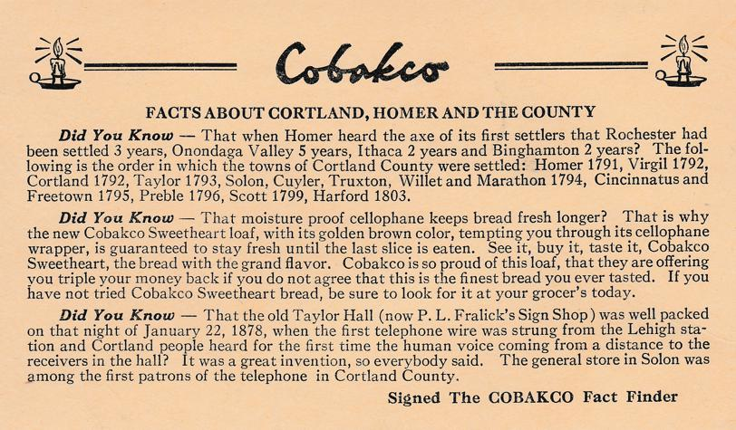 Cobakco Bakery Advertisement - Homer and Cortland New York - pm 1946