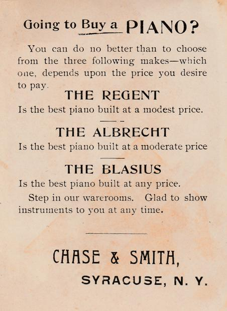Chase & Smith Pianos at McElheny's - Victorian Trade Card - Homer, New York