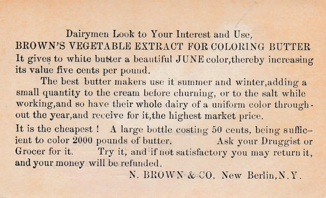 Dr. Loomis & Son Druggists - Butter Coloring - Trade Card, Homer, New York