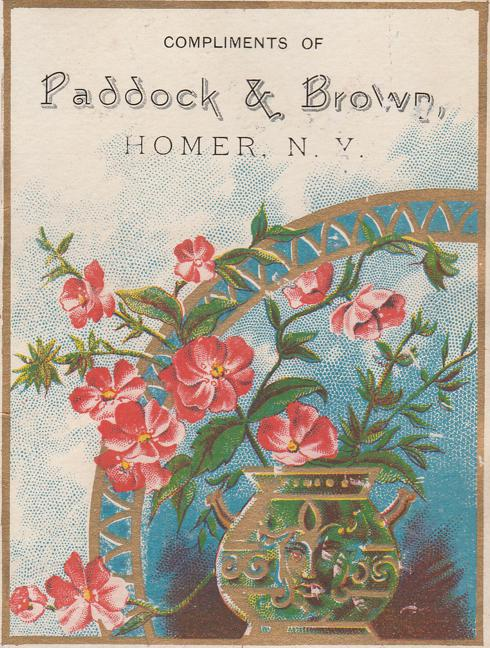 Paddock & Brown Hardware Store - Trade Card, Homer, New York