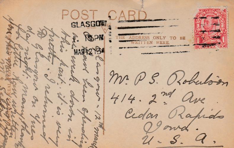 RPPC Howard Park at Kilmarnock, Scotland, UK - pm 1913 at Glasgow - Real Photo