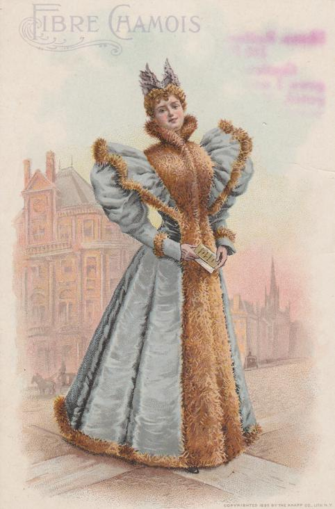 Trade - Advertisement - Lady in Fibre Chamois Gown - Sold by Beecher of Pottstown PA