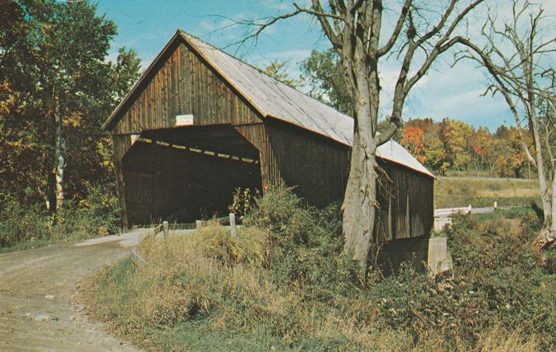 Old Covered Bridge on Route 4 - Woodstock, Vermont - pm 1970 at Hinesburg
