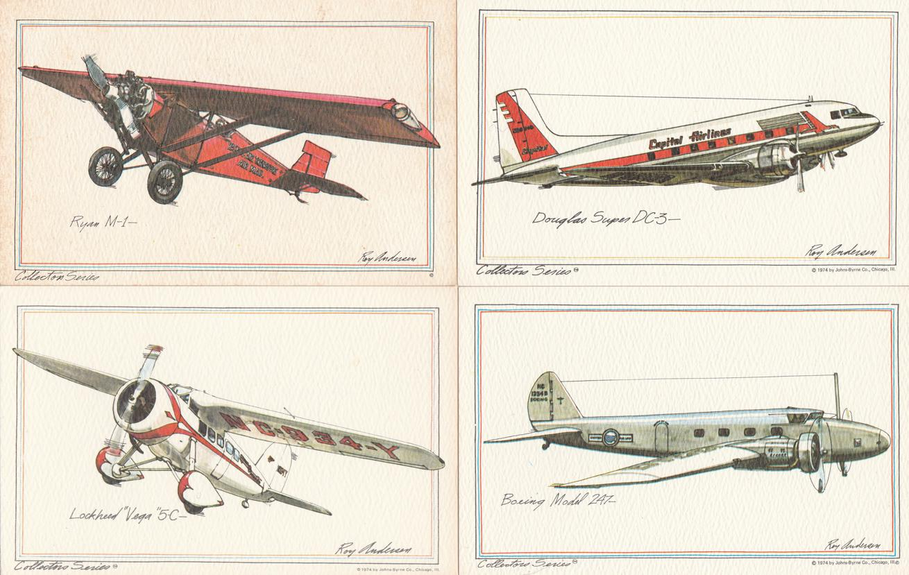 (4 cards) Aviation Collector Series - Sketches by Ray Andersen